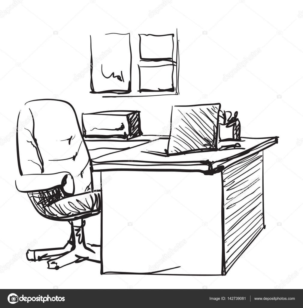 Schreibtisch gezeichnet  mit einem Computer oder Arbeitsplatz im Büro von hand gezeichnet ...