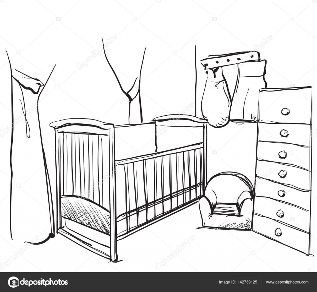chambre enfants dessin s croquis de meubles lit b b image vectorielle yuliia25 142739125. Black Bedroom Furniture Sets. Home Design Ideas