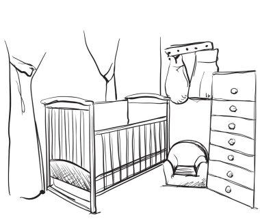 Drawn children room. Furniture sketch. Baby bed
