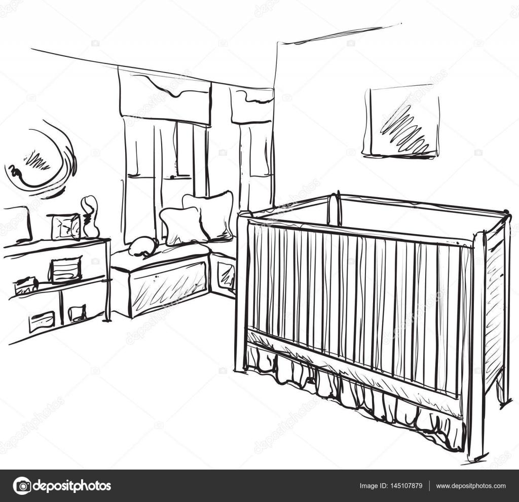 Handgemalte Kinderzimmer Mobel Skizze Baby Bett Vektor Von Yuliia25