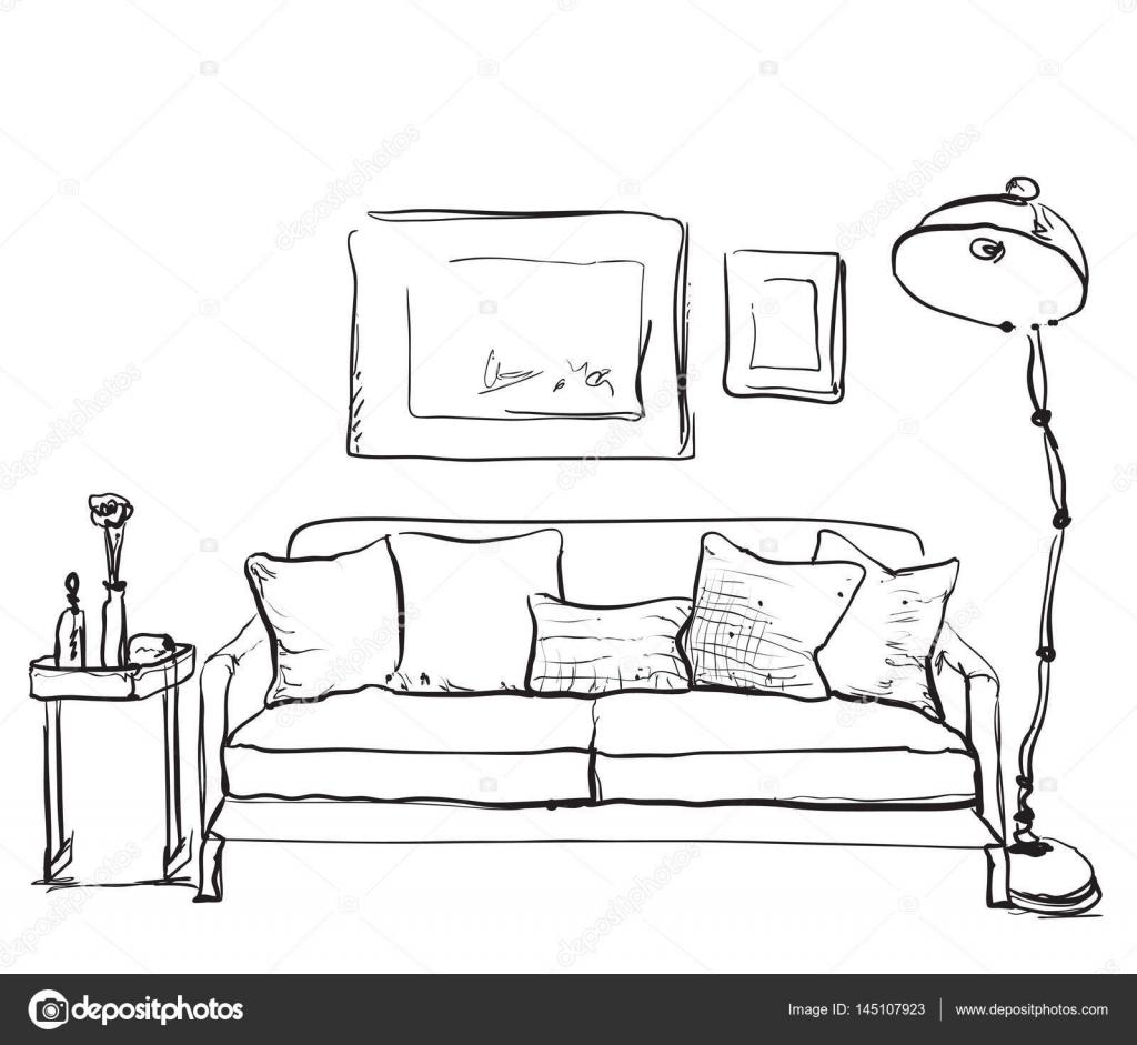 Hand gezeichnete skizze der innenraum wohnzimmer mit sofa for Sofa von oben