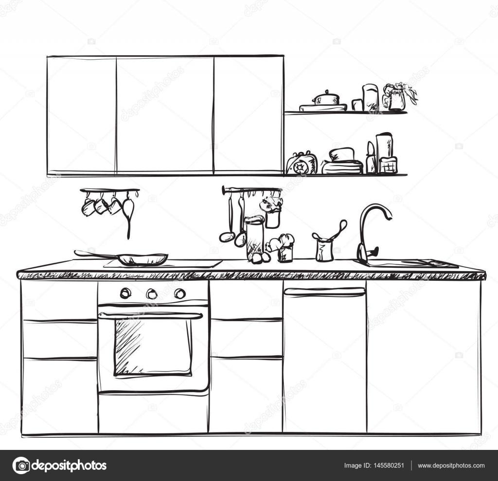 Dibujo Interior De Cocina, Ilustración Vectorial U2014 Vector De Stock