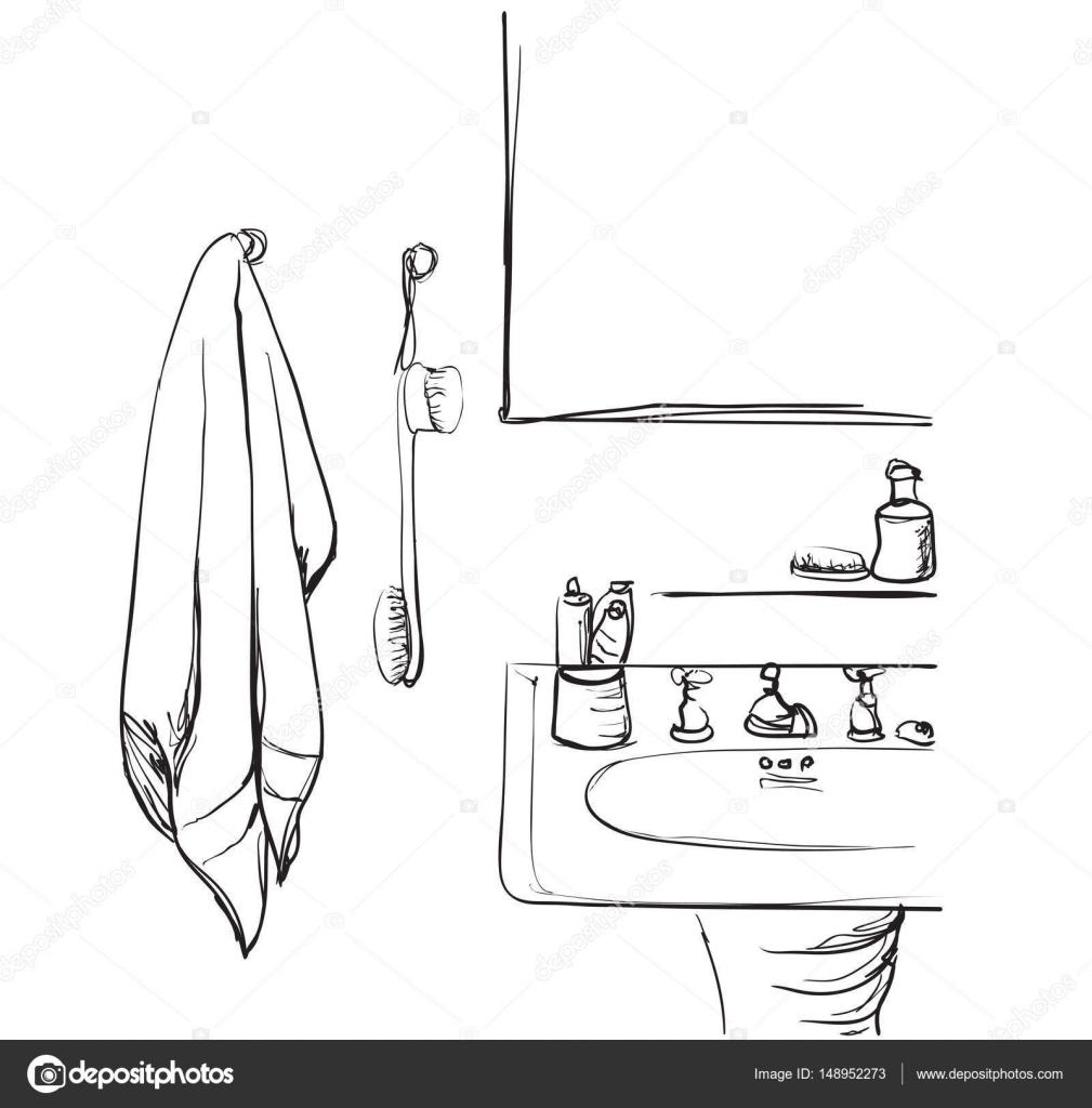 hand mirror sketch. Hand Drawn Bathroom. Washbasin And Mirror Sketch \u2014 Stock Vector