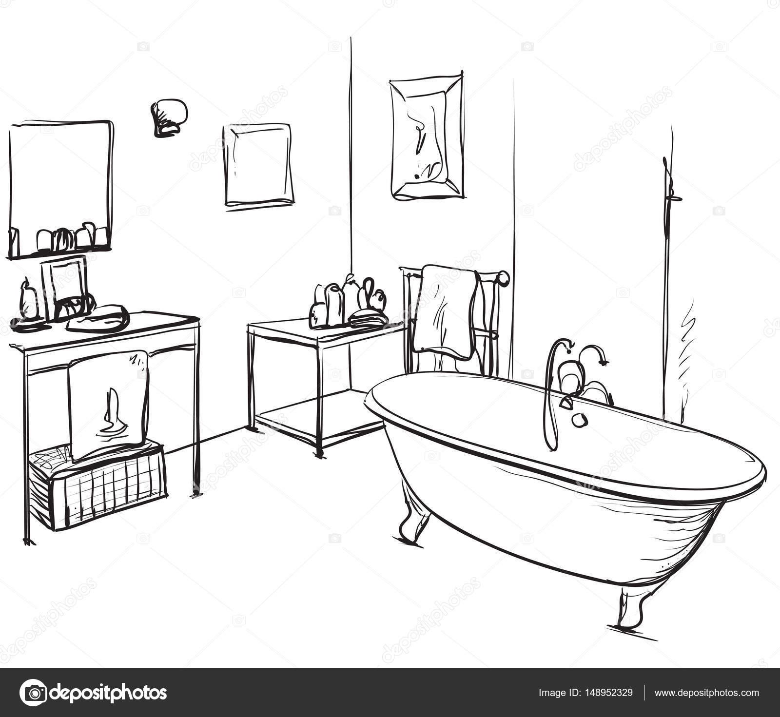 Mano dibuja el cuarto de ba o bosquejo de lavabo y mueble for Cuartos de bano el mueble