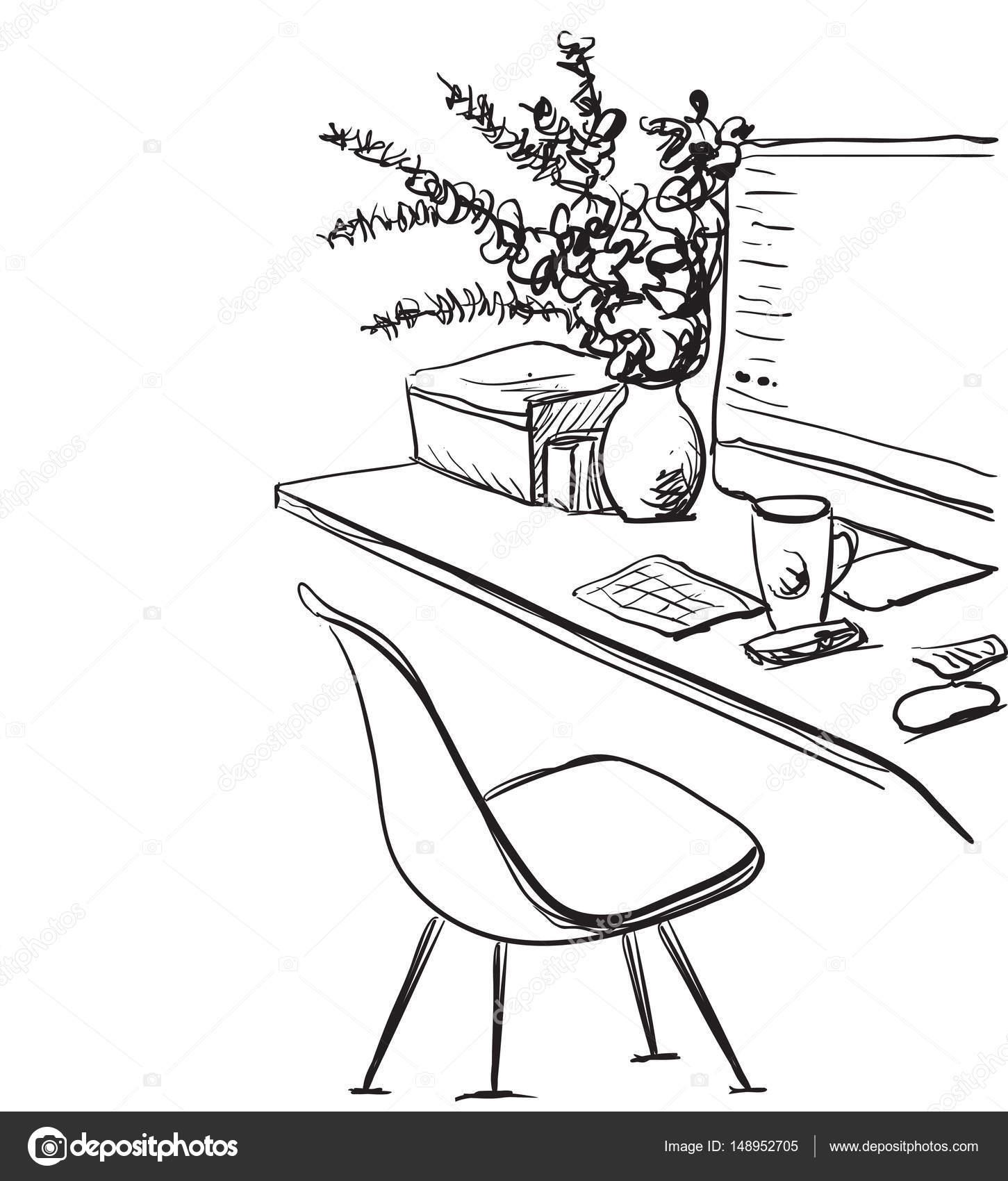 Escritorio De Computadora Para Colorear Escritorio Con Una