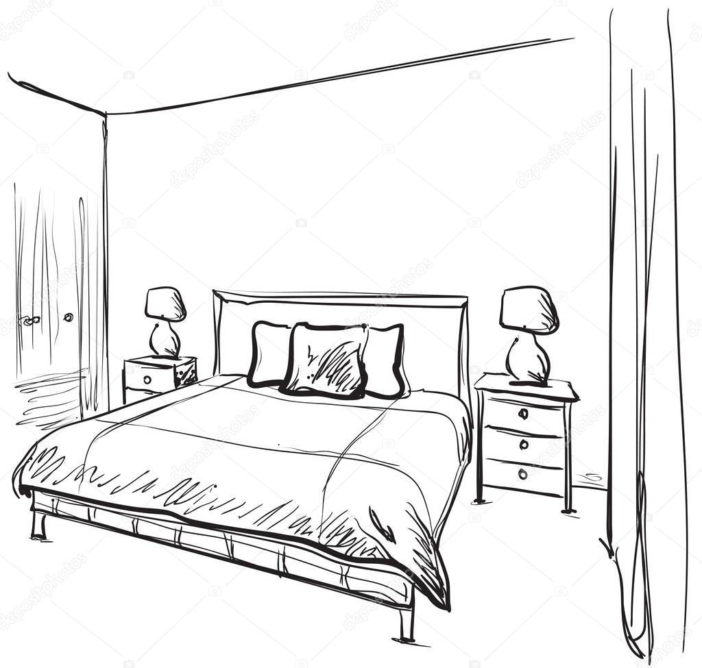 Dibujo Interior De La Habitaci N Muebles Hechos A Mano Archivo  # Muebles Dibujos Para Colorear