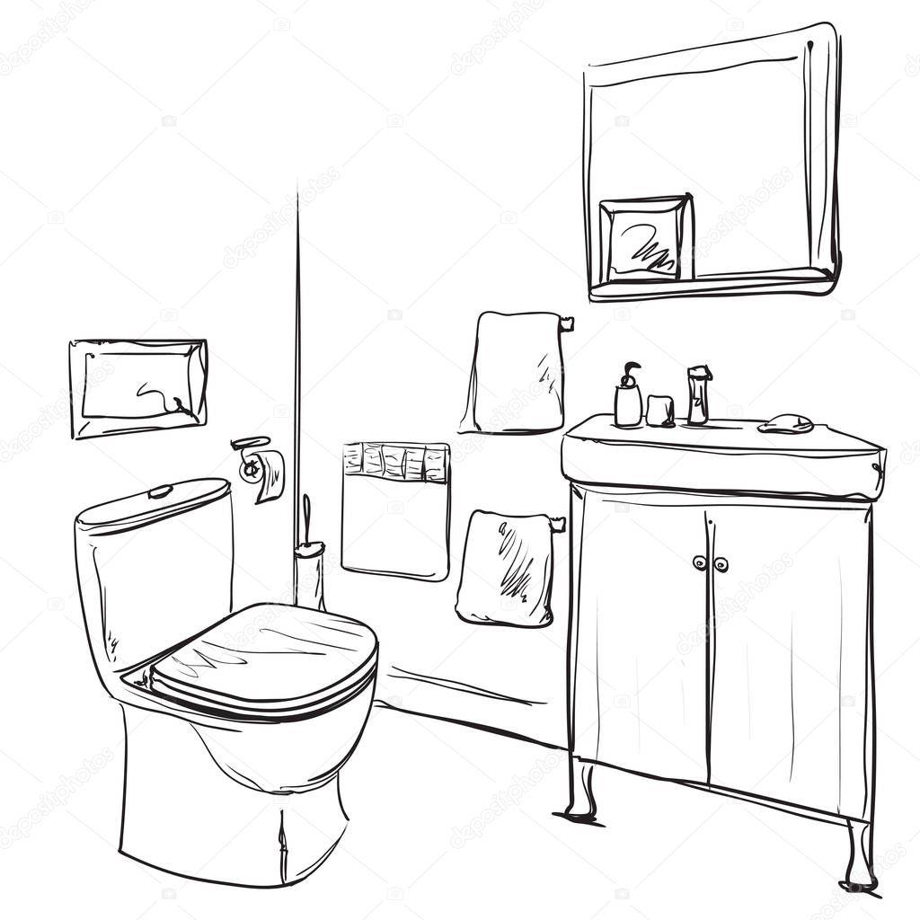 Bagno Disegnata A Mano. Schizzo Di Lavabo E Mobili