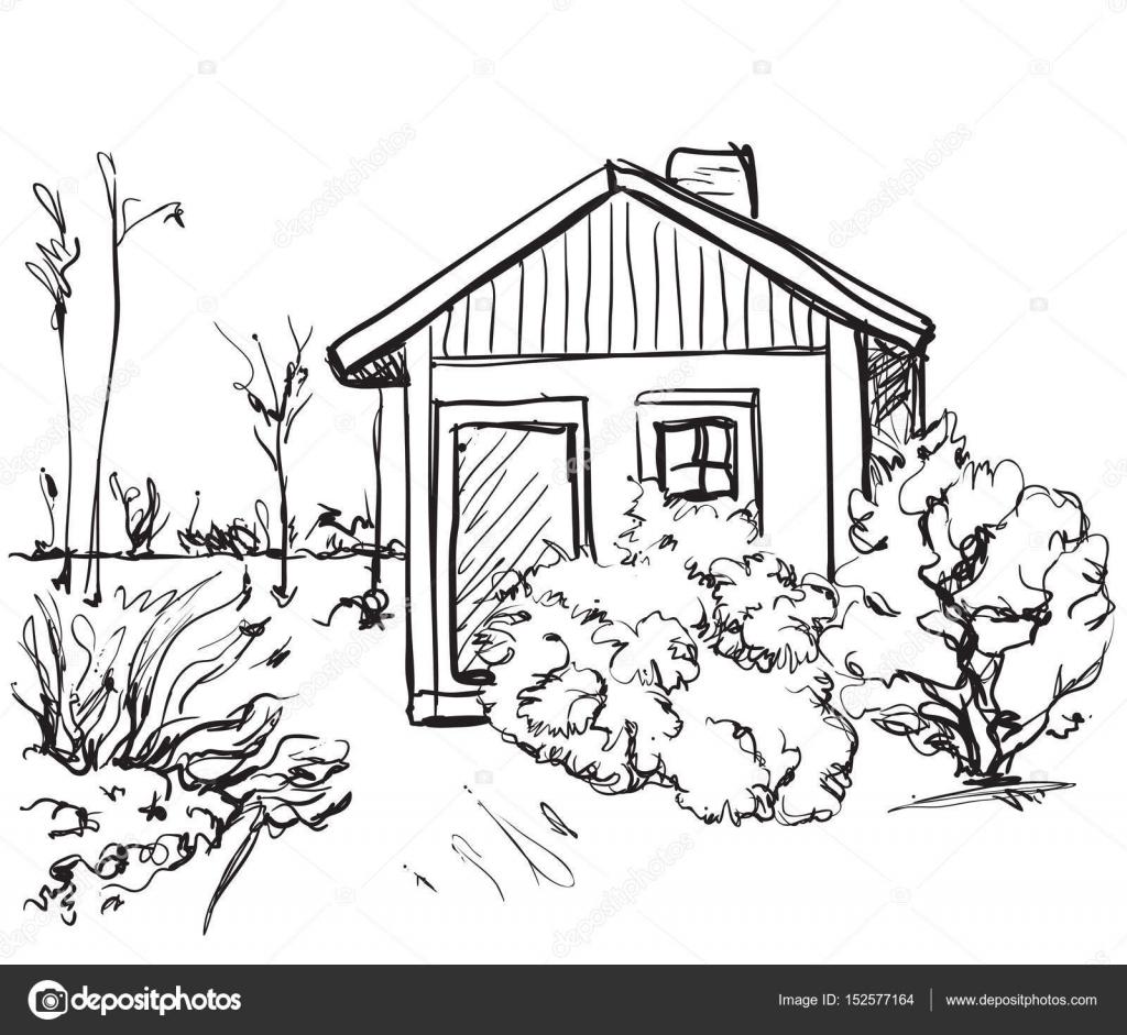 Cartoon hand tekenen van huizen landschap stockvector for Huizen tekenen