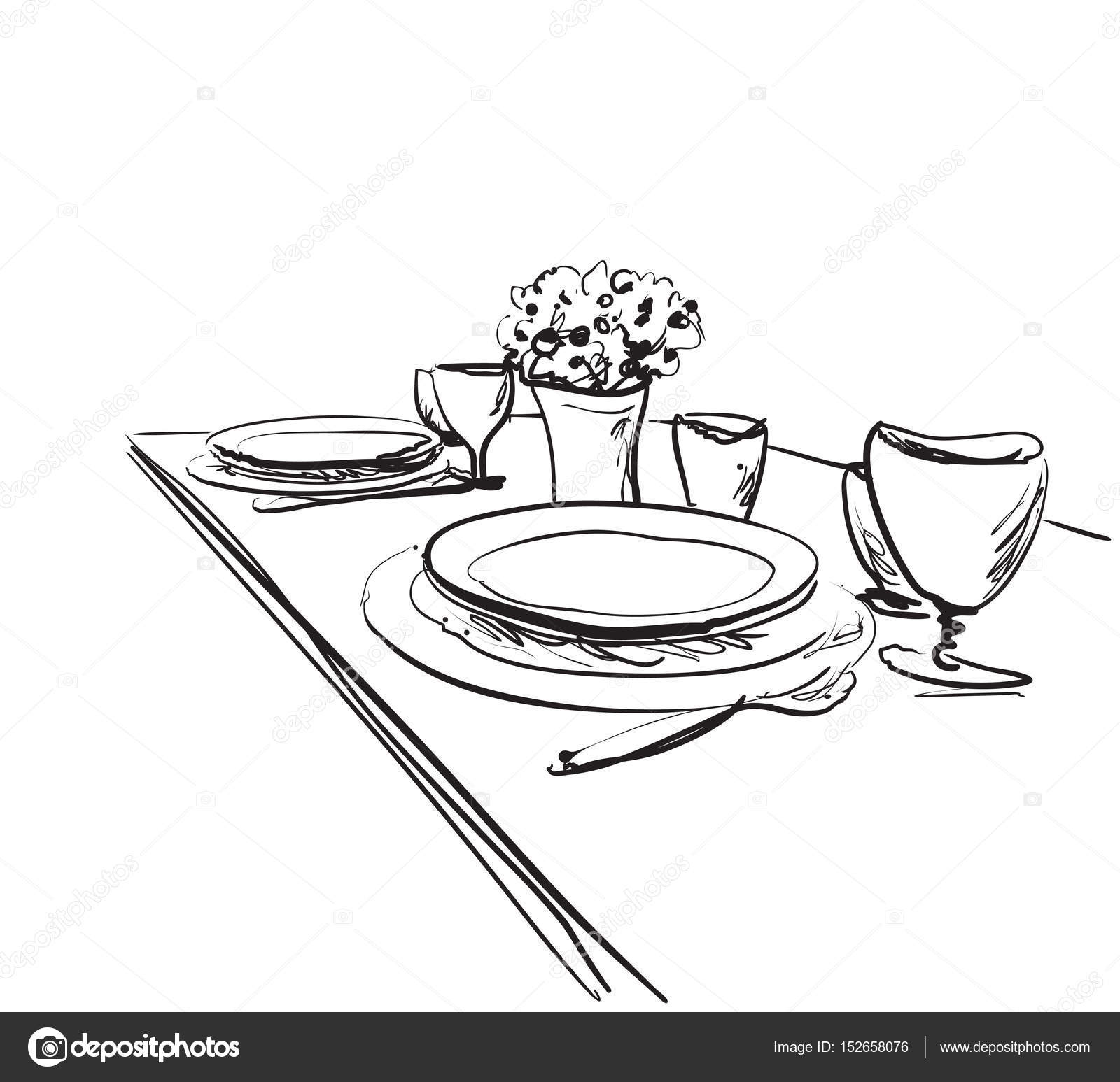 Table setting set. Weekend breakfast or dinner. u2014 Stock Vector  sc 1 st  Depositphotos & Table setting set. Weekend breakfast or dinner. u2014 Stock Vector ...