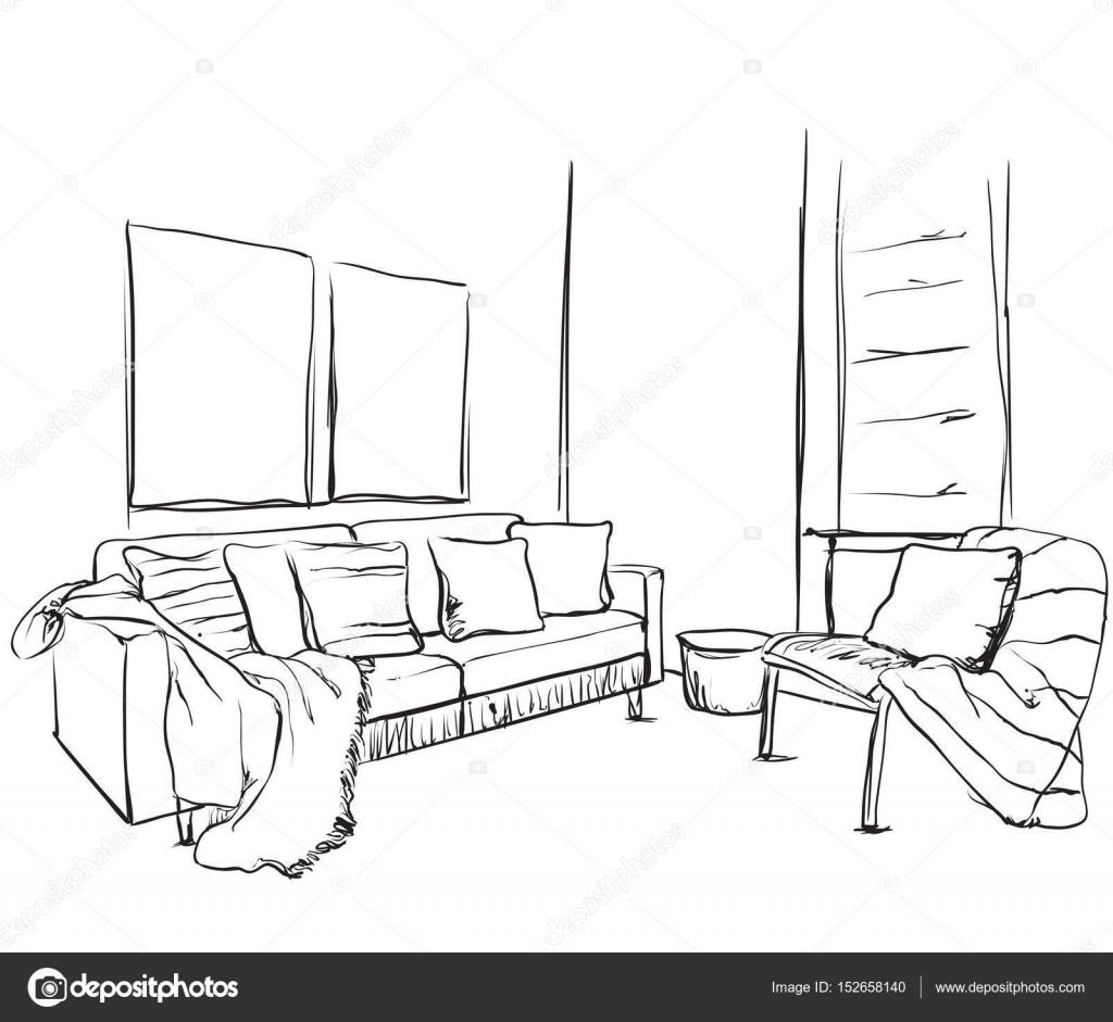 gezeichneten raum innen handskizze m bel stockvektor yuliia25 152658140. Black Bedroom Furniture Sets. Home Design Ideas