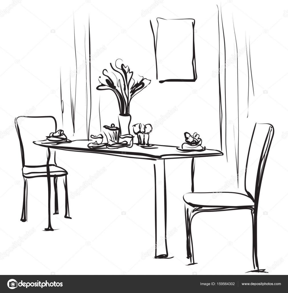 Dining Table With Coffee. Hand Drawn Sketch Vector