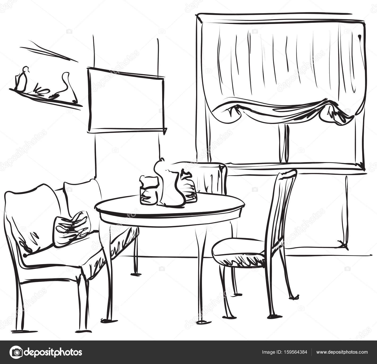 Mesa De Comedor Con El Café Dibujo Interior Archivo Imágenes