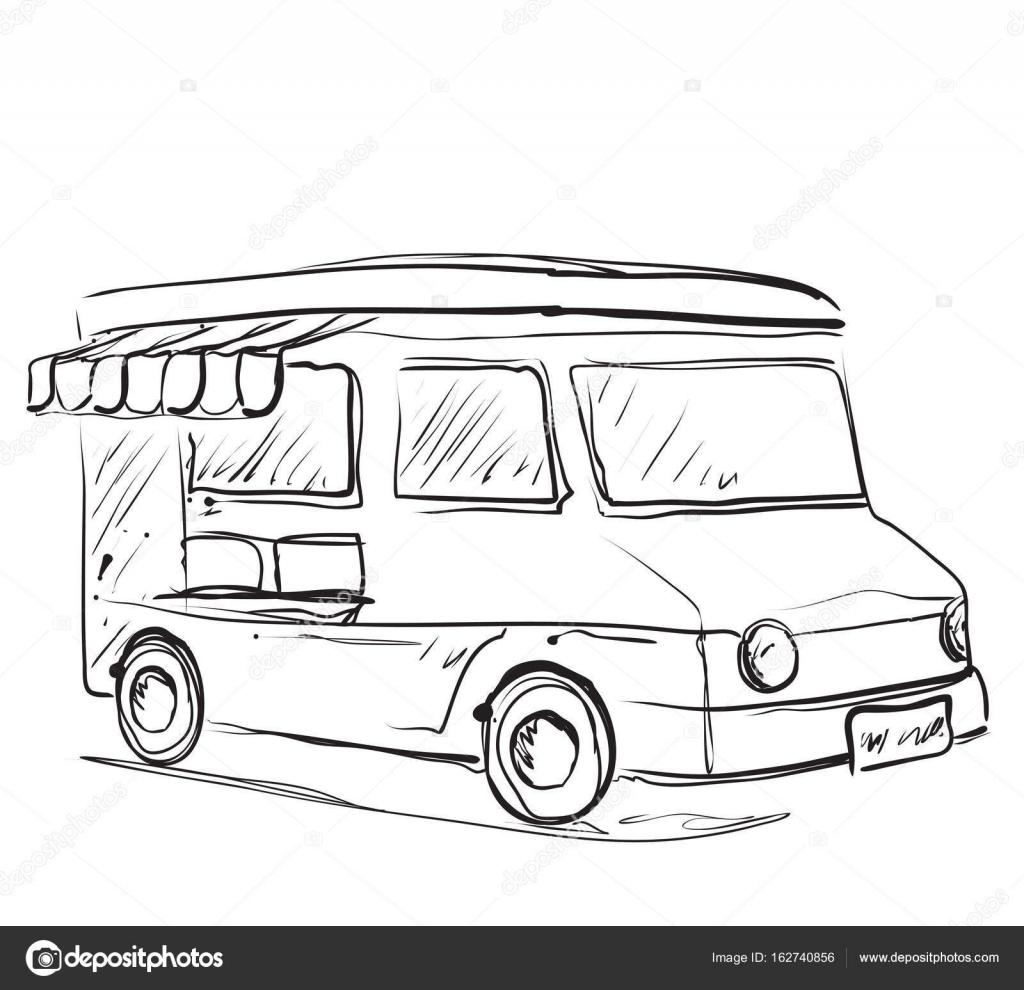 Cocina móvil comidas Van. Bosquejo monocromo. Carro de comida ...