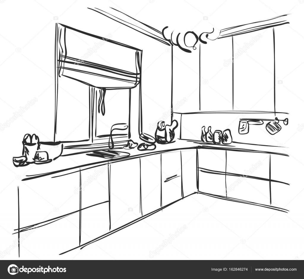 Imágenes: de muebles para dibujar | Dibujo interior de cocina ...