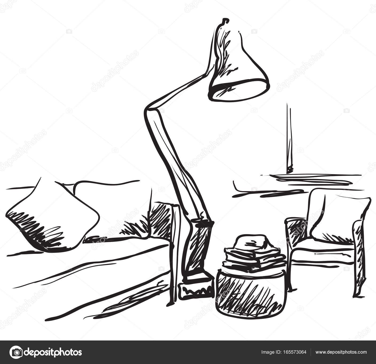 croquis intérieur modern. lampe et canapé dessin main — image