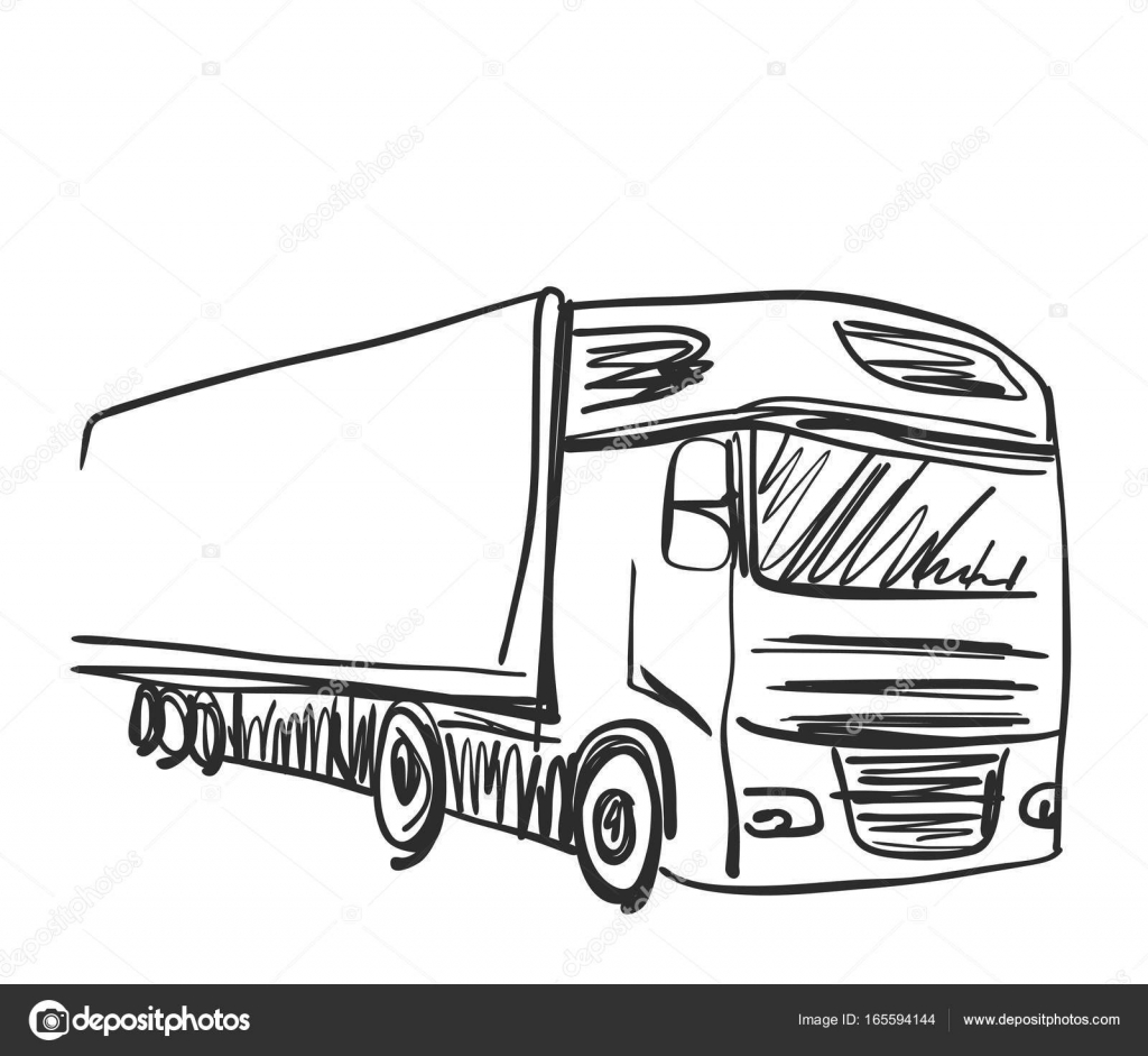Skizze-Logistik und Lieferung-Plakat. LKW — Stockvektor © Yuliia25 ...