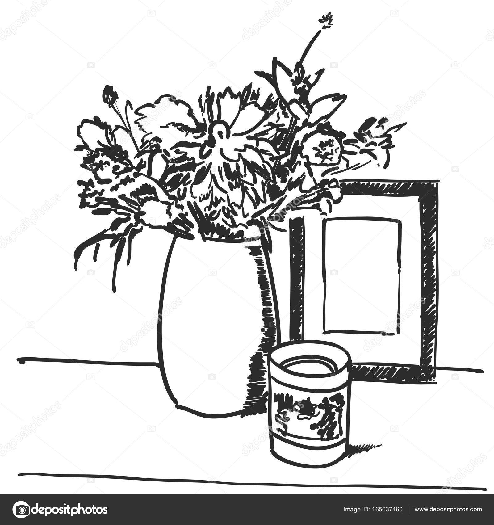 Bouquet flowers in vase hand drawn black lines — Stock Vector ...