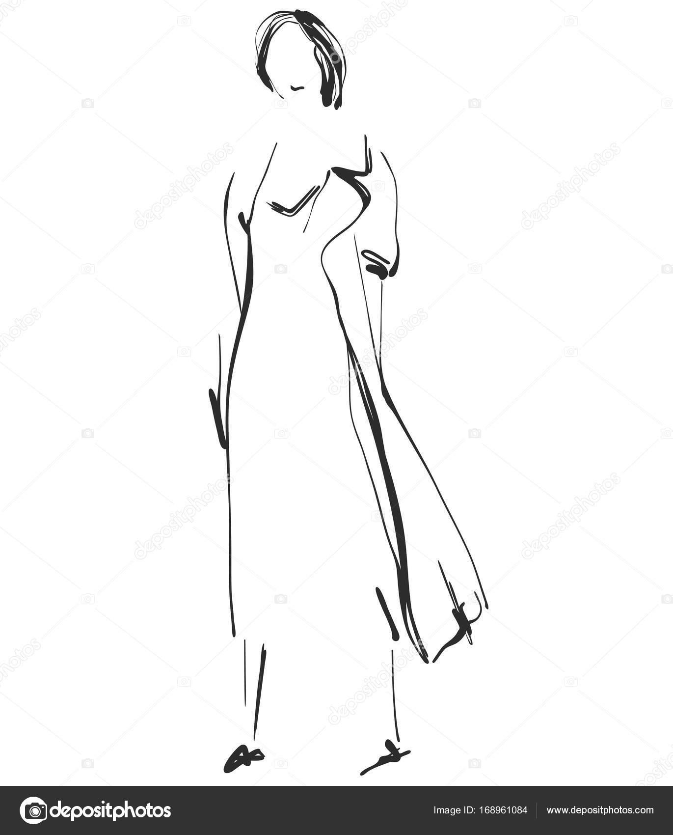 Imágenes De Dibujo De Diseño De Moda Modelo Hermosa Joven Para El