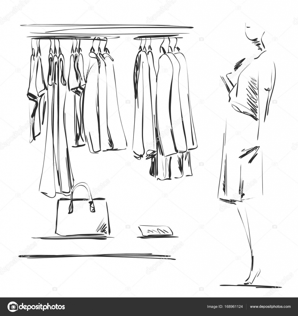 Hand Drawn Wardrobe Sketch Clothes On The Hangers