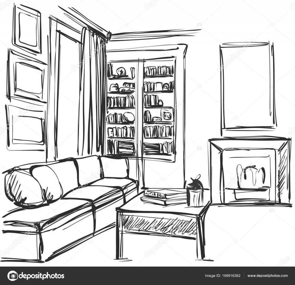 Hand Drawn Sketch Of Modern Living Room Interior With A Sofa Pillows Table Bookshelf And Pictures Vector By Yuliia25