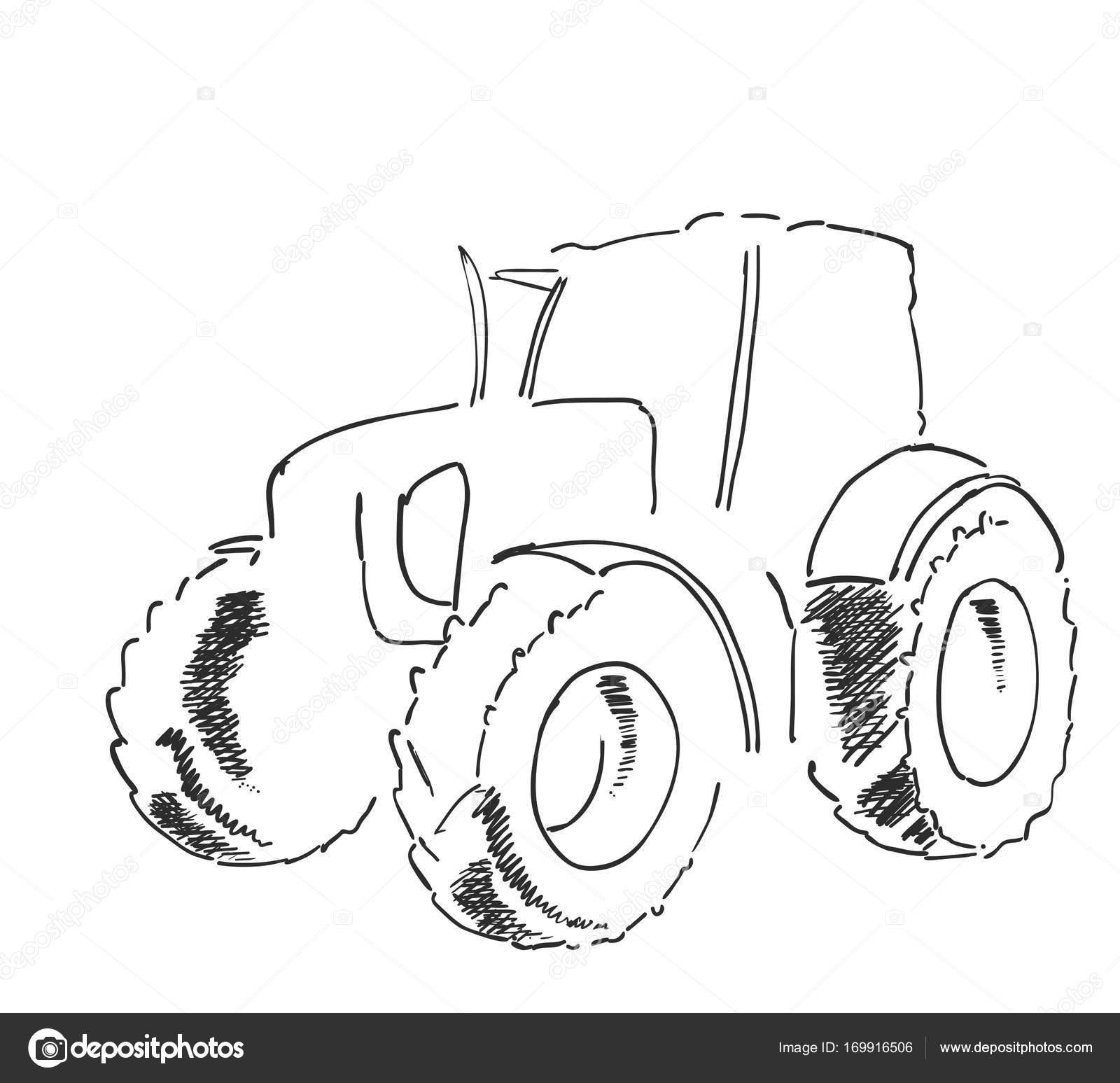 Dorf Land Agrimotor Gebrauchsmuster. Freihand lineare Tinte Hand ...