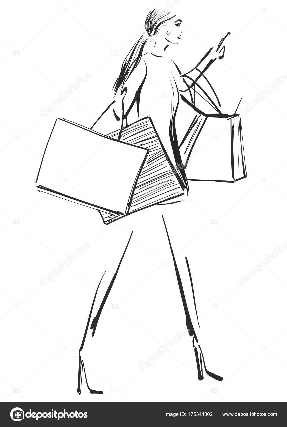 Dessin Shopping belle jeune fille pour la conception. mannequin avec le paquet