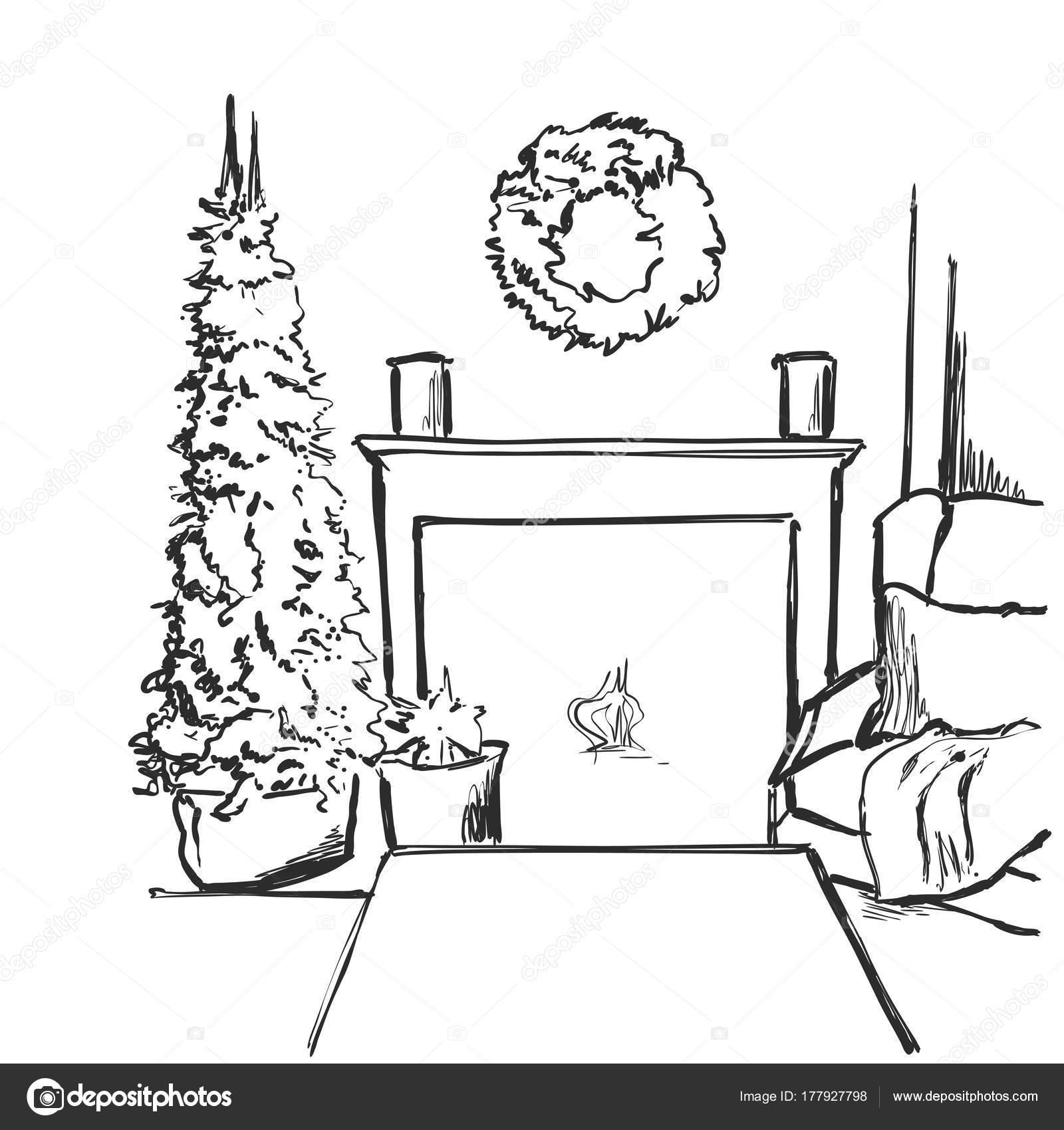 Dibujos Chimenea Navidad Dibujo Dibujo Vector Ilustracion - Postales-navidad-dibujos