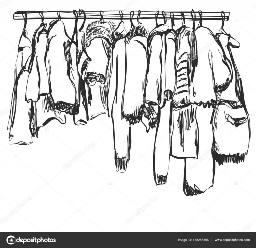 Kleiderschrank gezeichnet  Handskizze gezeichnete Kleiderschrank. Baby-Kleidung auf dem ...