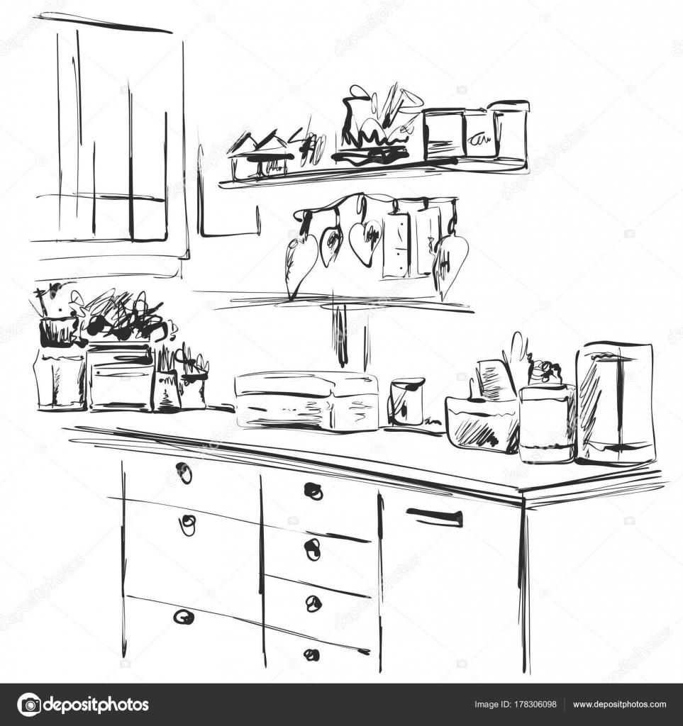 Küchenschrank, Küche Regale, Hand gezeichneten Interieur ...