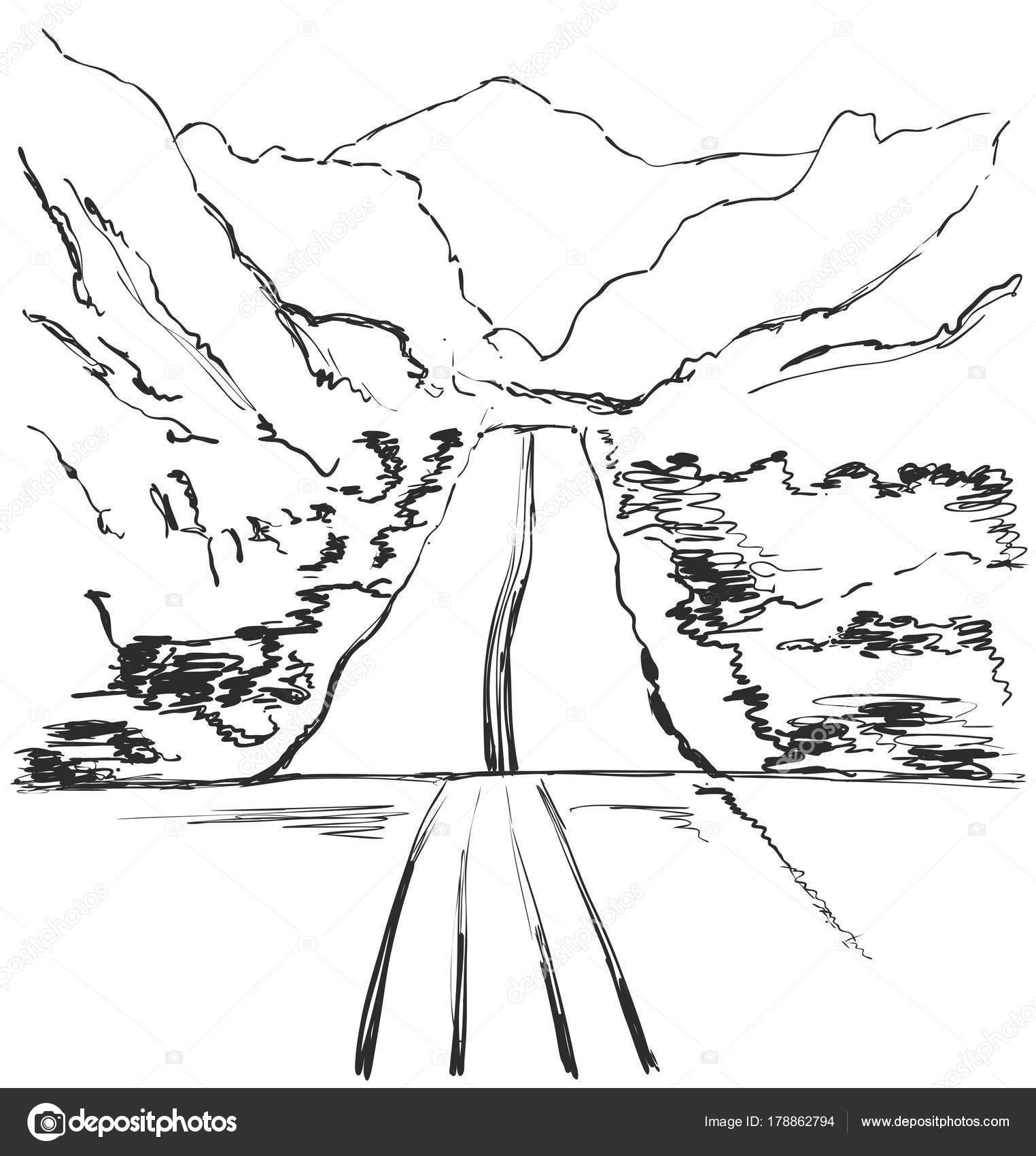 Vector illustration. Hand drawn Mountains sketch landscape with road ...