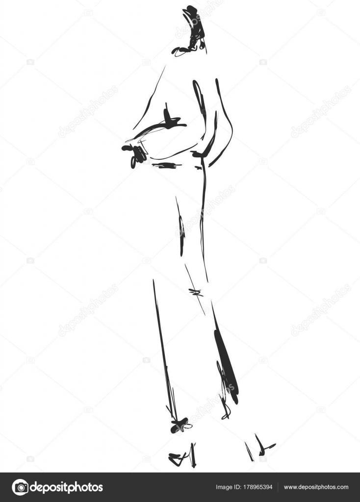 Hermosa girll joven para diseño. Modelo de moda, estilo, bosquejo ...