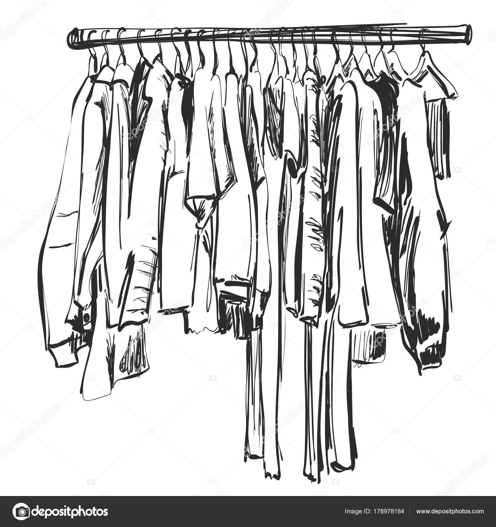 Kleiderschrank gezeichnet  Handskizze gezeichnete Kleiderschrank. Kleidung auf dem Kleiderbügel ...