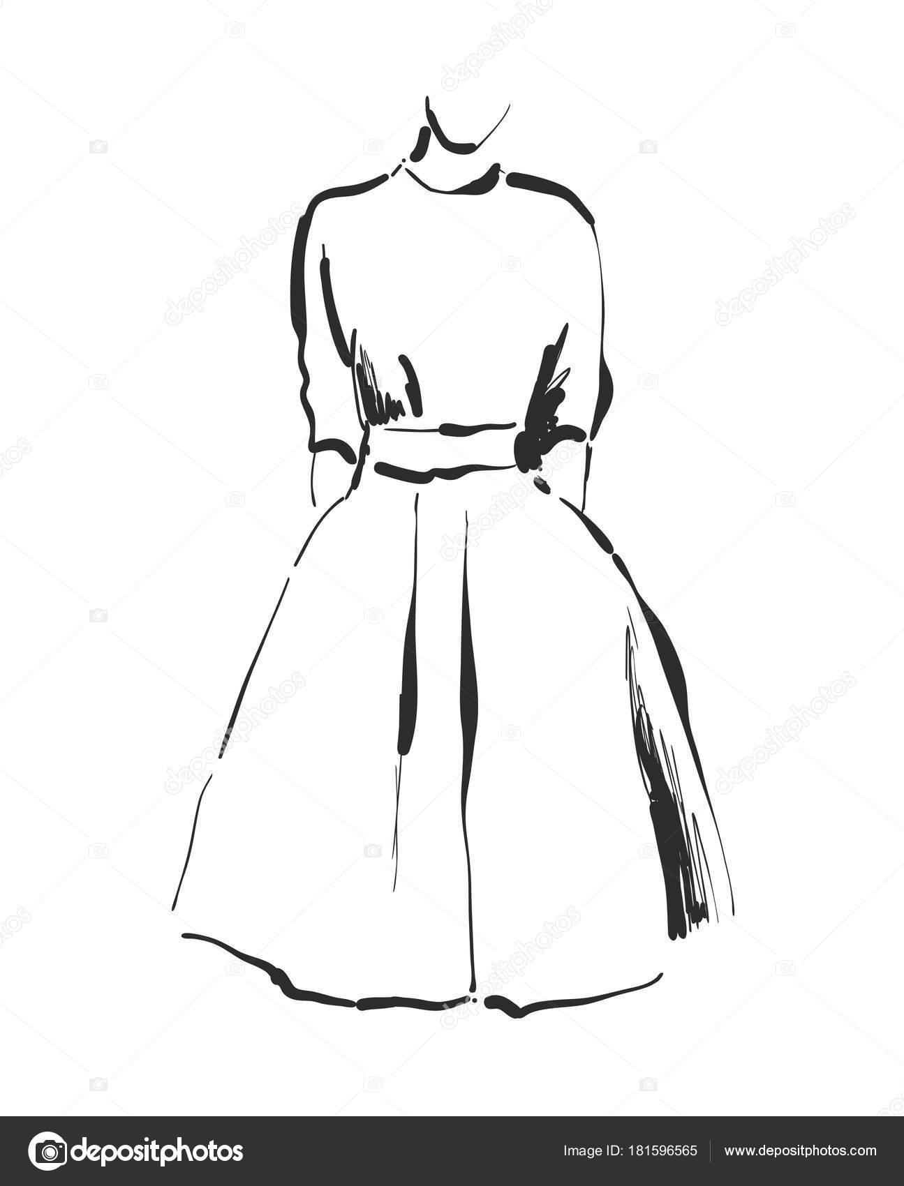 Vestido De Vetor De Desenho Croqui De Roupas Mão Desenhada