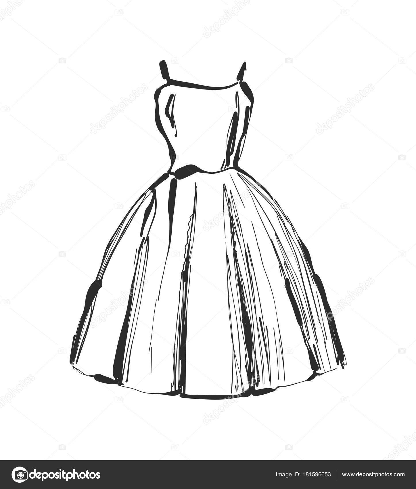 Kleidung Kleid handgezeichnete zeichnenSkizzieren Sie Vektor PkTiOXZu
