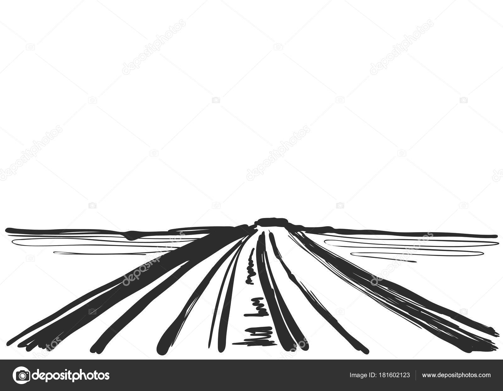 Vector illustration. Cartoon landscape with road. Sketch — Stock ...