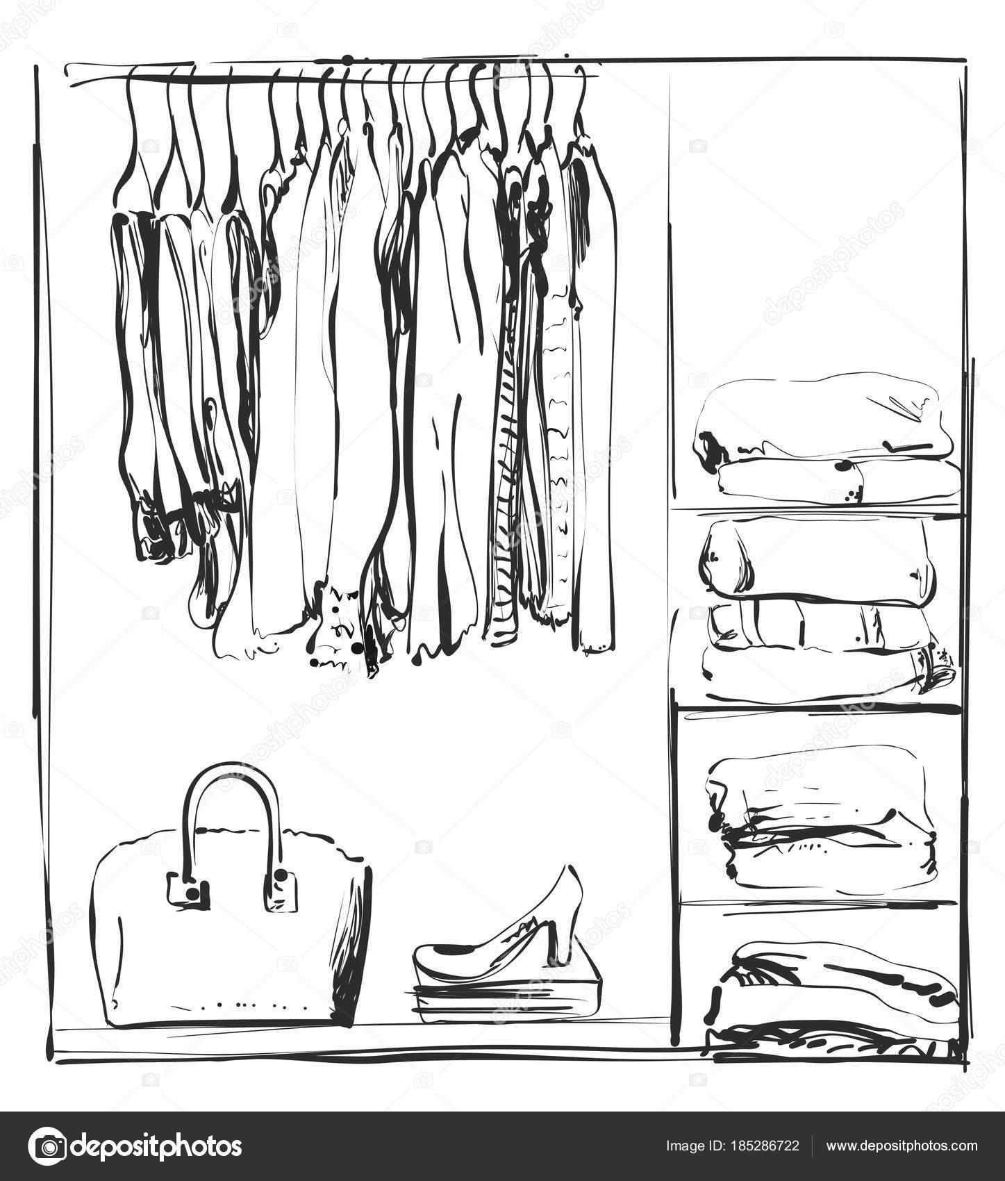 Kleiderschrank gezeichnet  Hand-gezogene Kleiderschrank-Skizze. Kleidung von der Kleiderbügel ...
