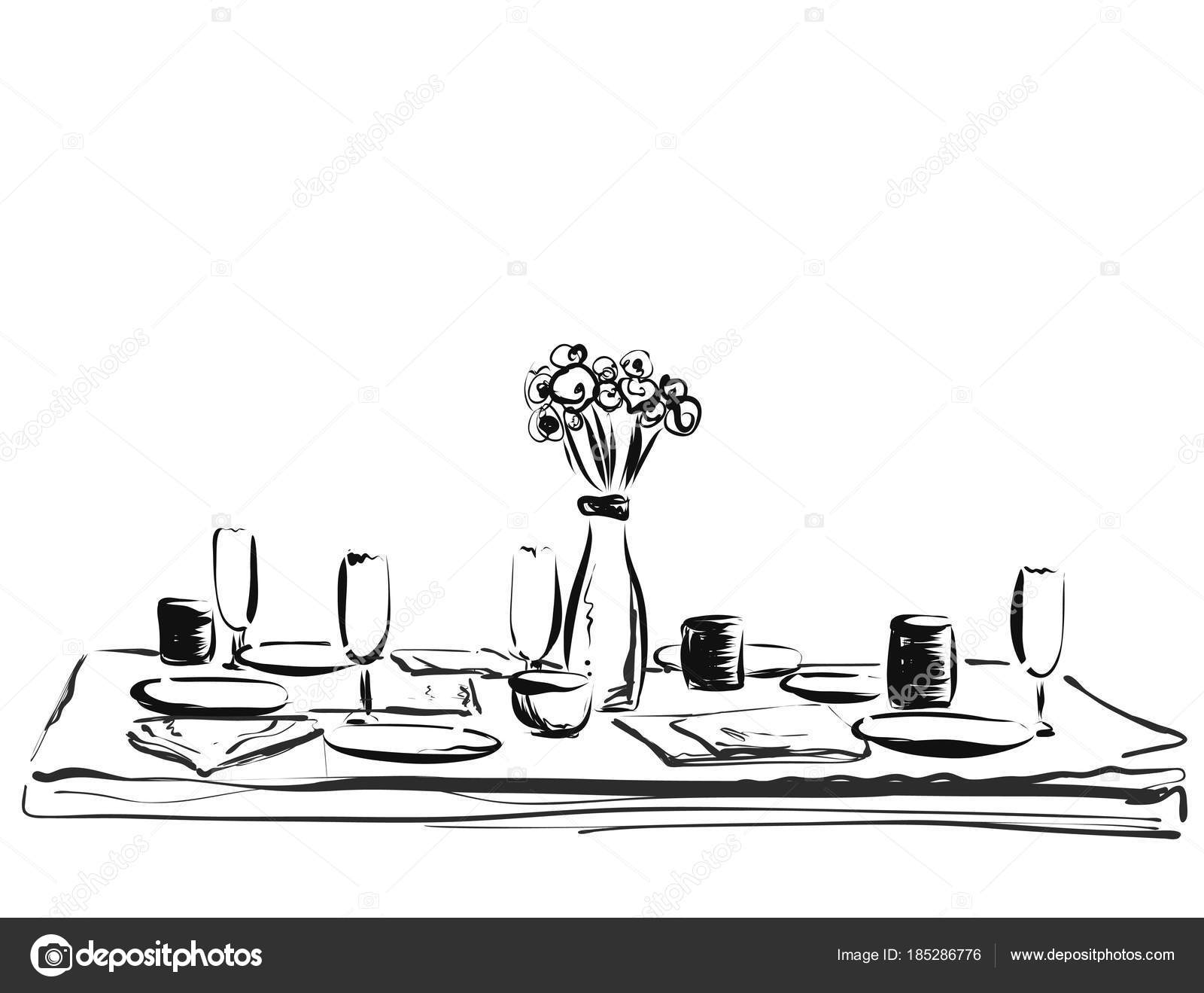 Table setting set. Weekend breakfast or dinner. Hand drawn dishes sketch u2014 Stock Vector  sc 1 st  Depositphotos & Table setting set. Weekend breakfast or dinner. Hand drawn dishes ...