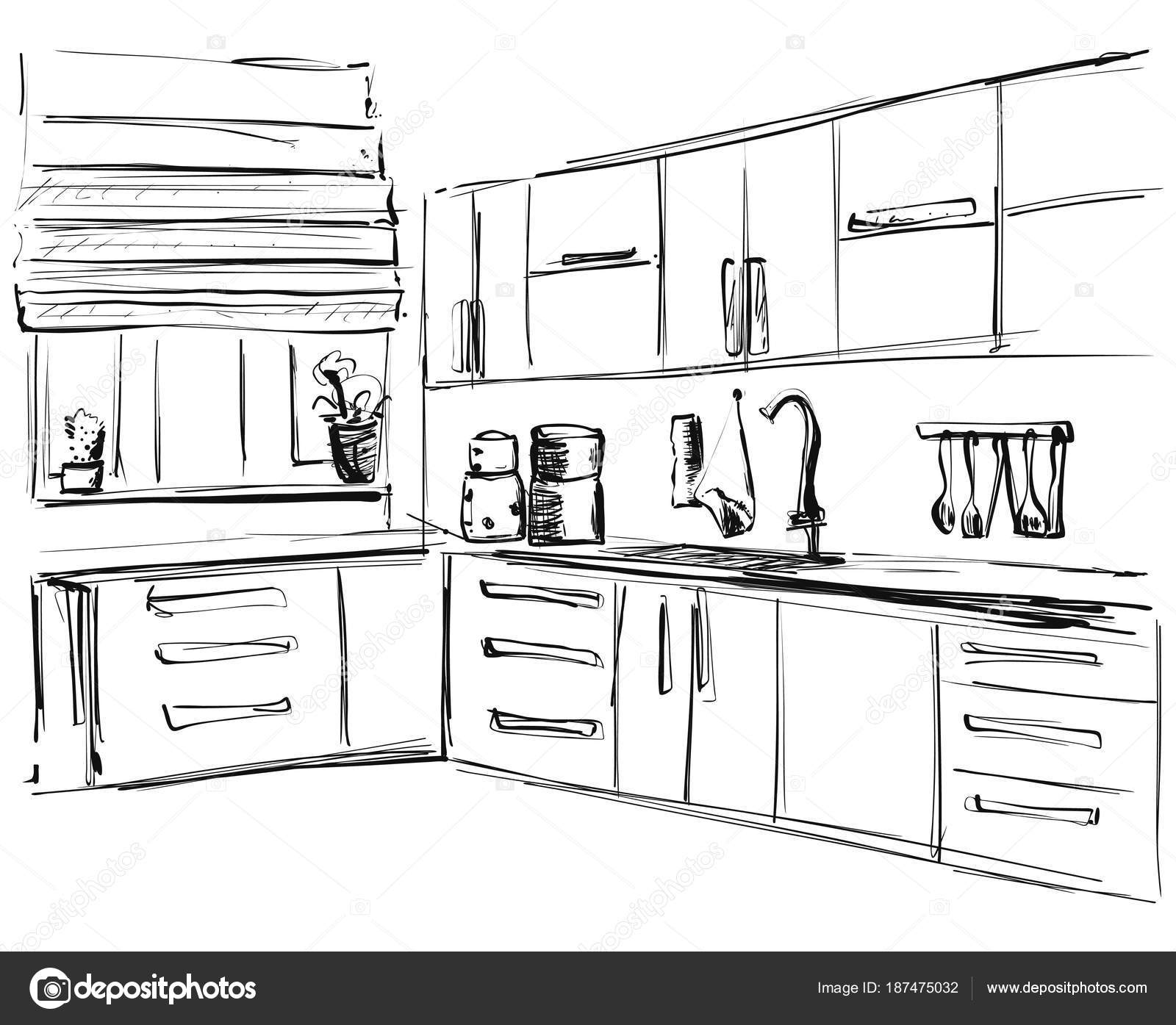 3d Sketch Small Kitchens And Islands: Kitchen Interior Drawing, Vector Illustration. Furniture