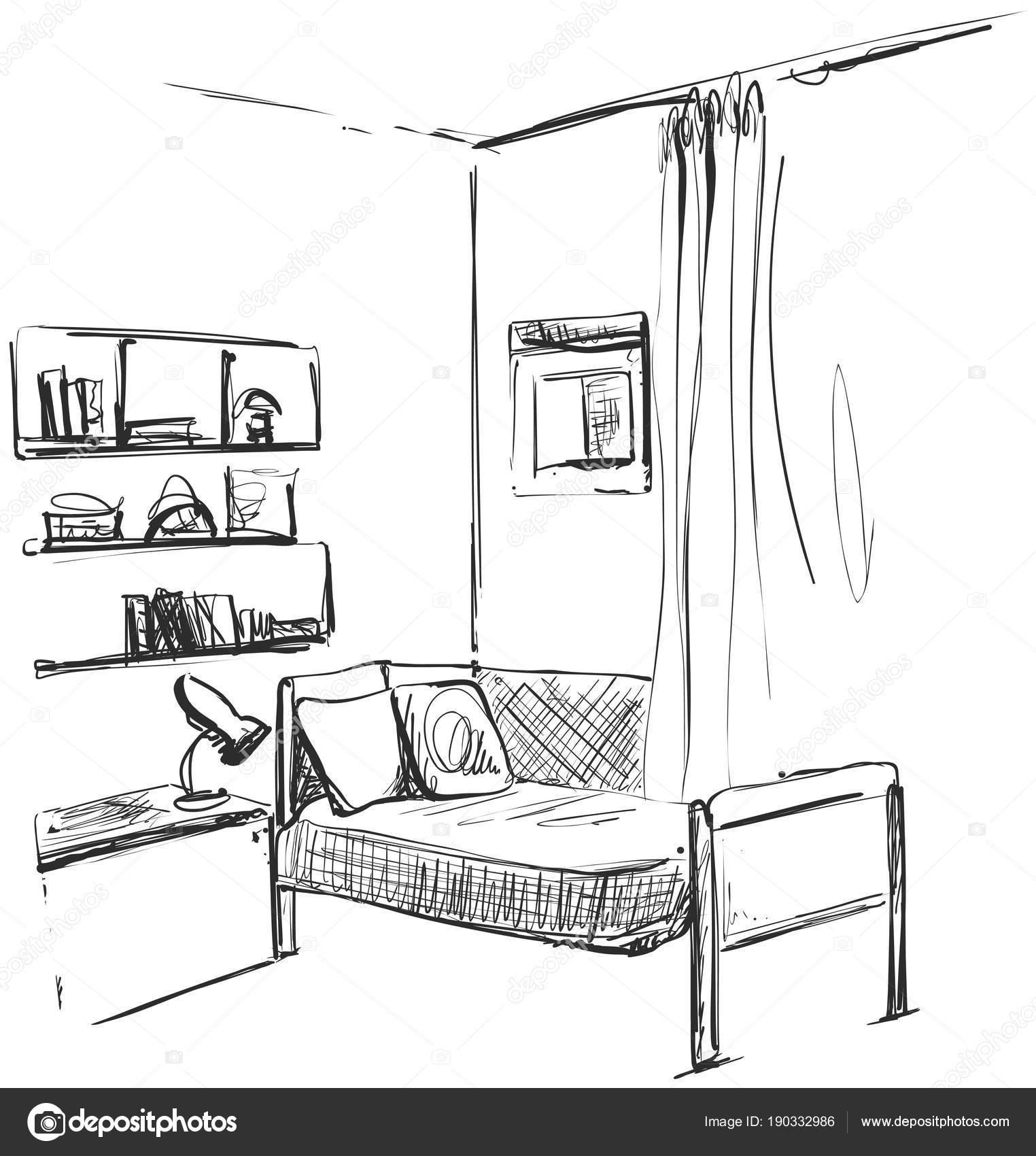 Dessin D Une Chambre D Enfant children room.graphic black white interior sketch vector