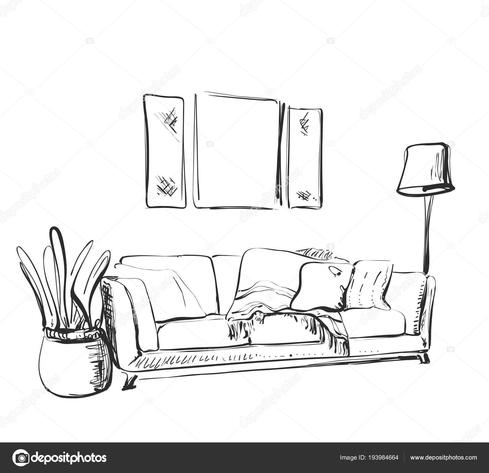 Contemporary modern interior hand drawing vector illustration sofa sketch vector by yuliia25