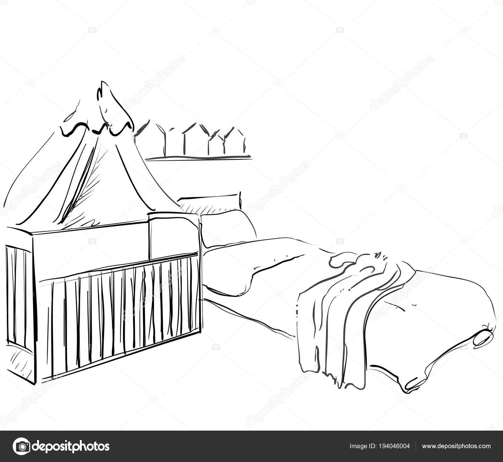Habitación de los niños. Bosquejo de mueble. Cama de bebé — Archivo ...