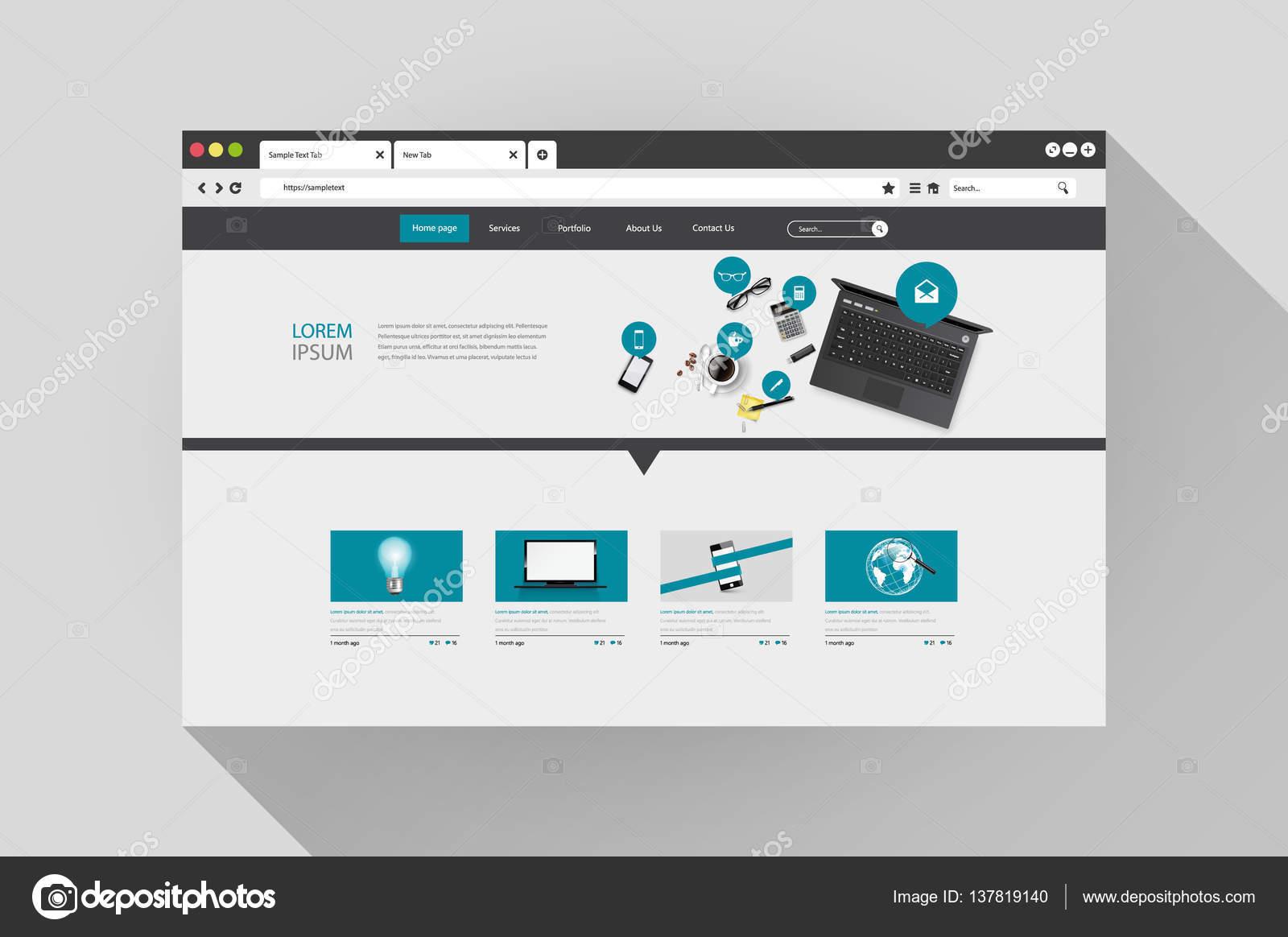 Moderne Website Template-design — Stockvektor © Droidworker #137819140