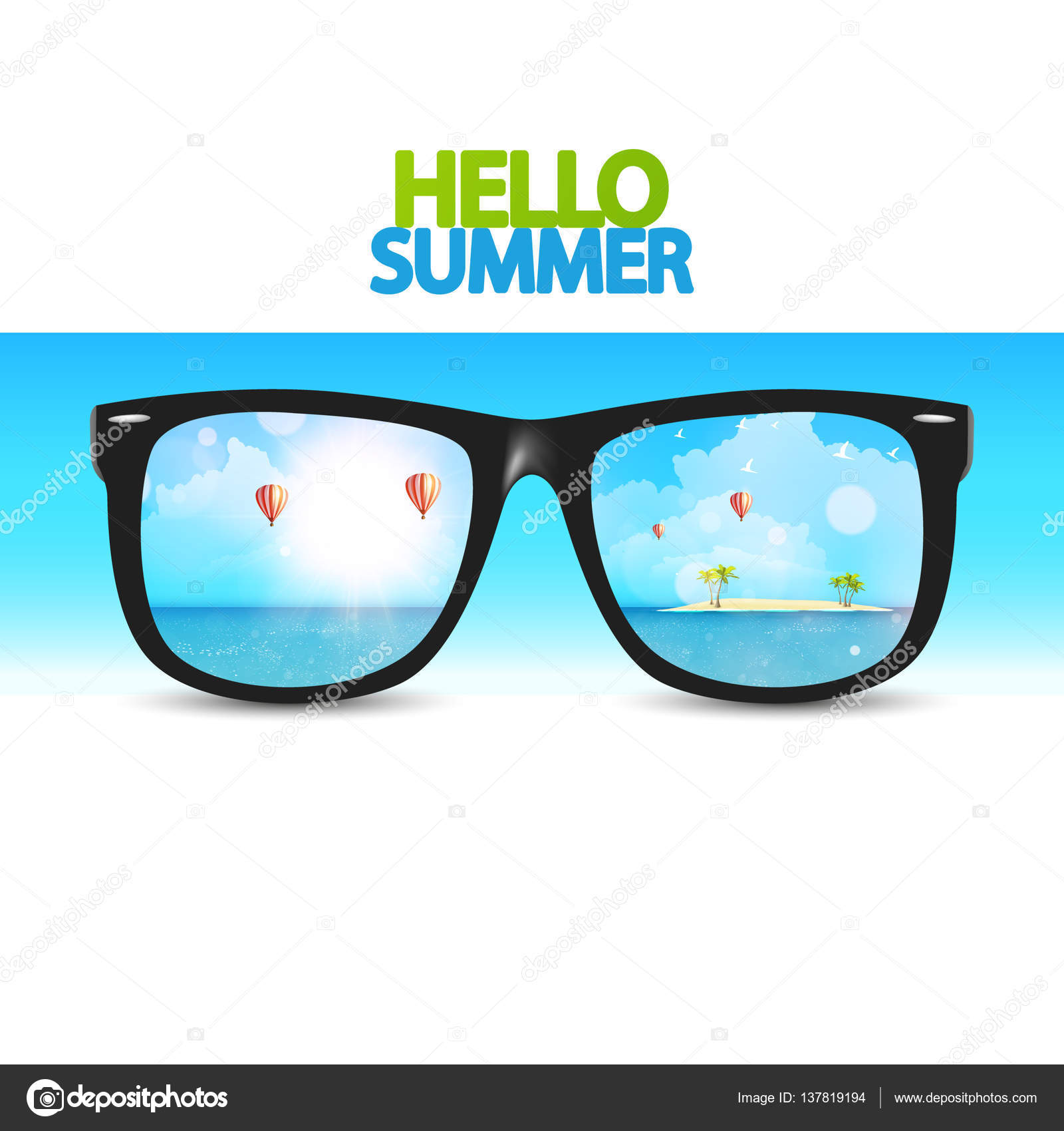 Superieur Hello Summer Poster With Eyeglasses U2014 Stock Vector
