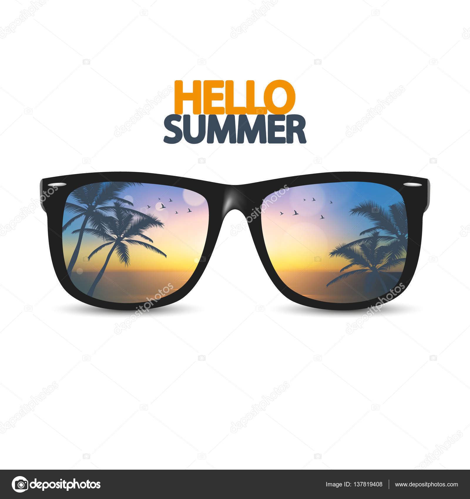 Hello Summer Poster With Eyeglasses U2014 Stock Vector