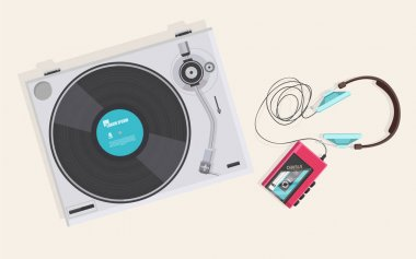 retro vinyl player and cassette player