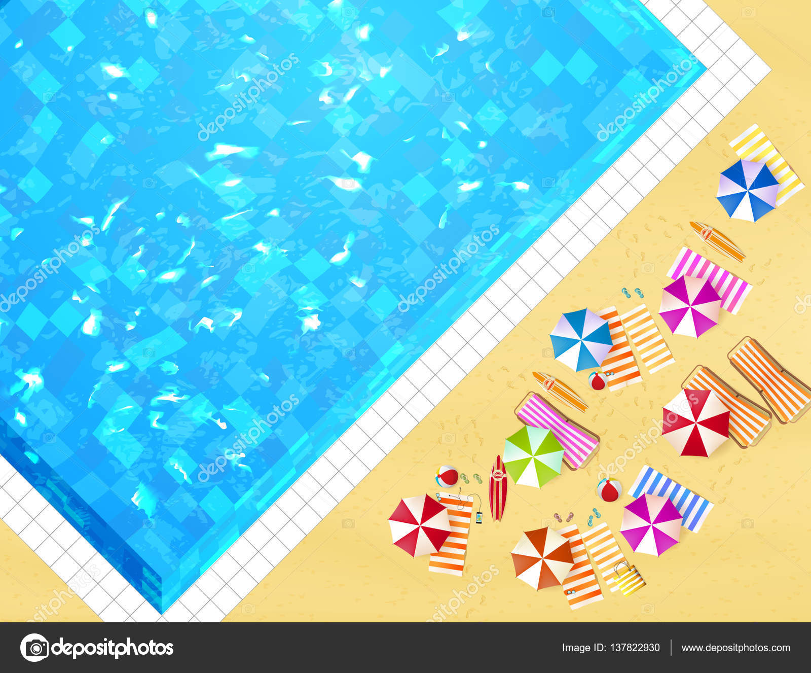 Top view of swimming pool Stock Vector Droidworker 137822930
