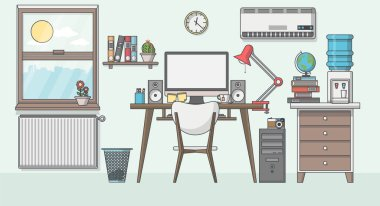 modern workplace in room.
