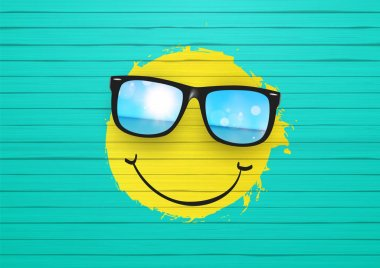 Yellow Smiley wearing sunglasses.