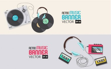 Retro music banners
