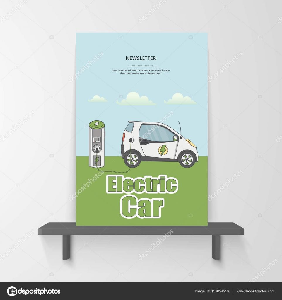 Vorlage der Broschüre mit Elektroauto-Fahrzeug — Stockvektor ...